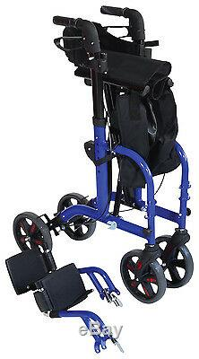 2 en 1 à Roues Marcheur Déambulateur & Transit Chaise Combinaison