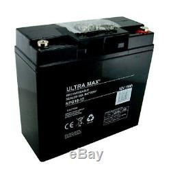 2 (paire) X Ultra Max 12V 18AH AGM/Gel mobylette & CHAISE ROULANTE batteries