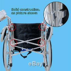 20'' Aluminium Pliable Transport Chaise Roulante Léger Repose-Pied Accoudoir