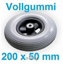 200x50 mm Caoutchouc plein Roue PU Pneu Antifriction 8 mm Fauteuil roulant wheel