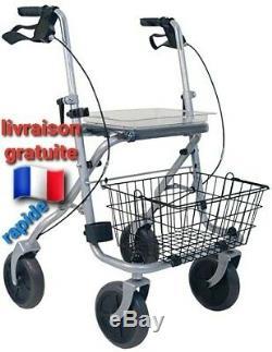 Aide a la marche sur roues 190/50 Drive Medical Argent Personnes agees Securite