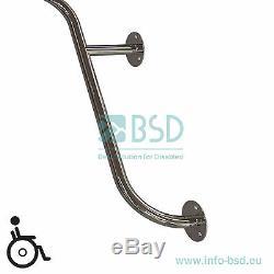 Barre dappui coudée à monter dans langle horizontale, acier inoxydable, Ø25 mm