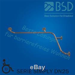 Barre dappui coudée pour baignoire horizontale, acier inoxydable, Ø25 mm