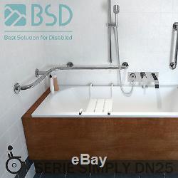 Barre dappui coudée pour baignoire horizontale, enduite dune peinture poudre b
