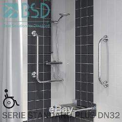 Barre dappui douche coudée 90 degrés à monter à gauche/ à droite avec cache-fix