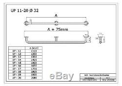 Barre dappui simple avec cache-fixations, longeur 110-200 cm, acier inoxydable