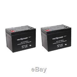 Batterie GEL 2 X 12V / 75 Ah pour Dietz Bonito fauteuil roulant électronique