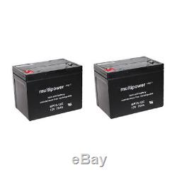 Batterie GEL 2 X 12V / 75 Ah pour Dietz CYRIUS XXL fauteuil roulant électronique