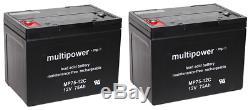 Batterie de Remplacement Pour Invacare Storm 3 2 X 12V 75Ah MP75-12C Plomb AGM