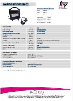 Cellcon Chargeur avec Xlr-Connecteur Accu à Plomb 24V 8A AGM Gel 36Ah, 50Ah, 75