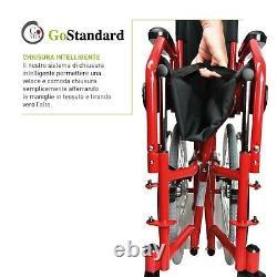 Chaise À Roues Pliant A Arrière Poussette Pour Handicapés Étapes Serrés