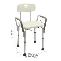 Chaise de douche réglable en hauteur de l'accoudoir pour les personnes âgées