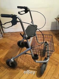 Déambulateur 4 roues/freins neuf, réglable, pliable, panier, assise, porte canne