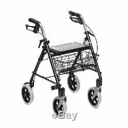 Déambulateur Léger Marche Cadre Zimmer 4 à roues avec siège panier et plateau