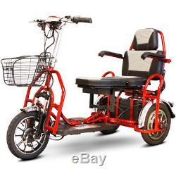 Ewheels EW-02 Pli Électrique 3-Wheel Mobylette 2 Passager Rouge, Neuf