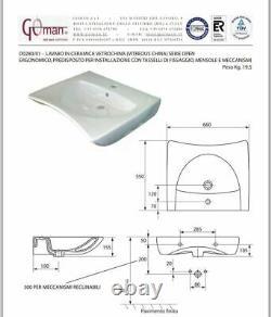 GOMAN Lavabo Céramique Pour Handicapés Parking Série Open Bain Design Sanitaire
