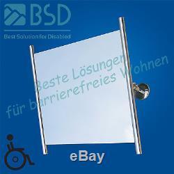Miroir réglable avec des cadres latéraux, acier inoxydable, Ø25 mm