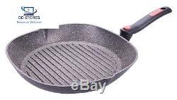 Monnaie facile induction poêle grill avec poignée pliante, aluminium, gris