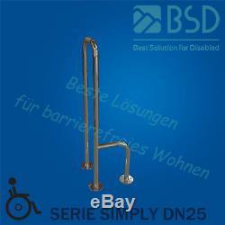 Poignée de sécurité à monter au sol à gauche/ à droite, acier inoxydable, Ø25 mm