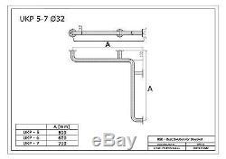 Poignée de sécurité coudée à monter dans langle, acier inoxydable, Ø32 mm