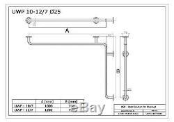 Poignée de sécurité coudée pour douche horizontale, acier inoxydable, Ø25 mm