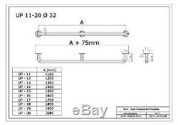 Poignée de sécurité main courante avec cache-fixations, 110-200 cm, blanche, Ø32