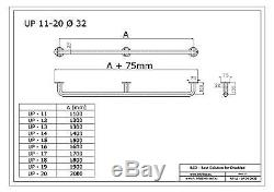 Poignée de sécurité main courante, longeur 110-200 cm, blanche, Ø25 mm