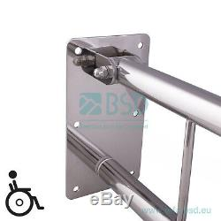 Poignée de sécurité rabattable avec porte-papier Ø32 mm, acier inoxydable