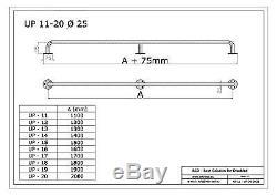 Poignée de sécurité simple, longeur 110-200 cm, acier inoxydable, Ø25 mm