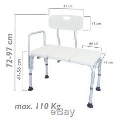Siège de baignoire réglable en hauteur avec accoudoir pour les personnes âgées