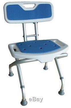 Siège de douche pliant avec dossier et assise anti-dérapant