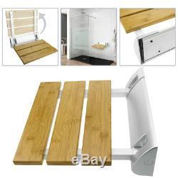 Siège de douche rabattable. Chaise pliant en bois bambou et aluminium 320x328mm