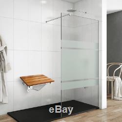 Siège de douche rabattable. Chaise pliant en bois tropical et aluminium
