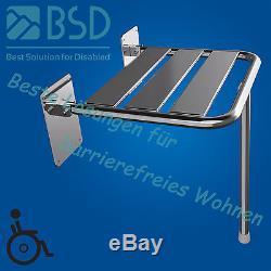 Siège de douche rabattable avec pied, acier inoxydable, Ø25 mm