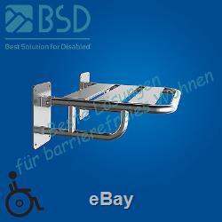 Siège de douche rabattable renforcé, acier inoxydable, Ø25 mm