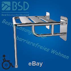 Siège de douche rabattable renforcé avec pied, acier inoxydable, Ø25 mm