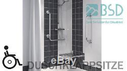 Siège relevable pour douche renforcé avec pied, acier inoxydable, Ø25 mm