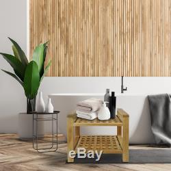 Tabouret de salle de bain avec accoudoirs et étagère 50 x 50 x 33 cm bois de
