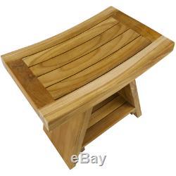 Tabouret de salle de bain ergonomique avec étagère 45 x 45 x 30 cm bois de teck