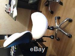 Tabouret ergonomique prestige selle de cheval taille 55-75 cm couleur blanc