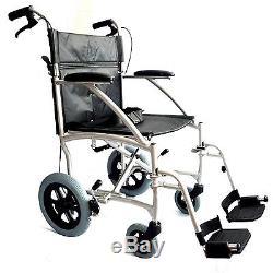 ultra l ger aluminium pli transport en commun voyage chaise roulante avec freins. Black Bedroom Furniture Sets. Home Design Ideas
